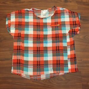 RAINDROPS by PAPILLON Plaid Crop Top Size Medium